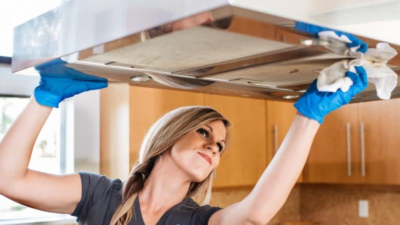 Woman cleaning her home to clear it of spiders