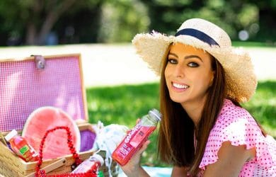 Woman ready for a bug-free picnic