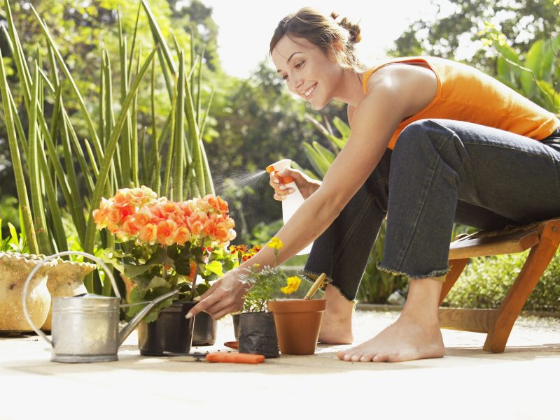 Woman spraying insecticide in the garden